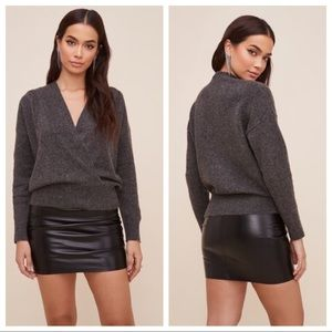 ASTR The Label Pleated Wrap Sweater Gray Knit XS